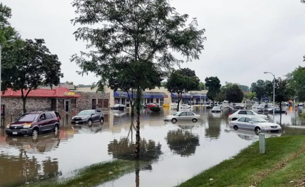 water damage restoration building flooded